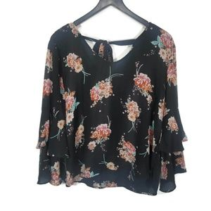 Liberty Love Black Floral Bell Sleeve Blouse XL